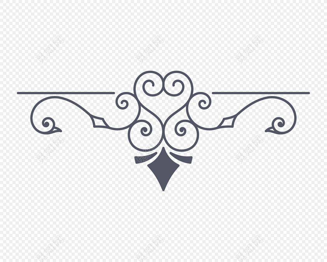 手绘黑色花纹创意分割线