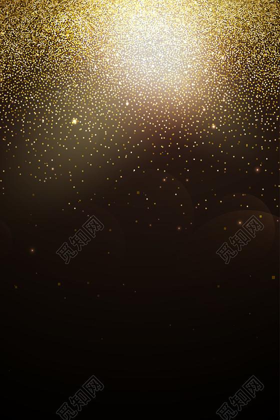 点点光效花纹夜空黑色背景图金色
