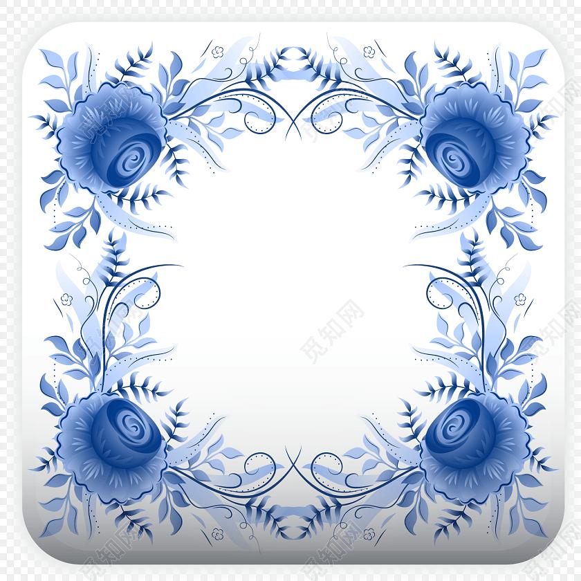 唯美中国风青花瓷花边边框素材下载