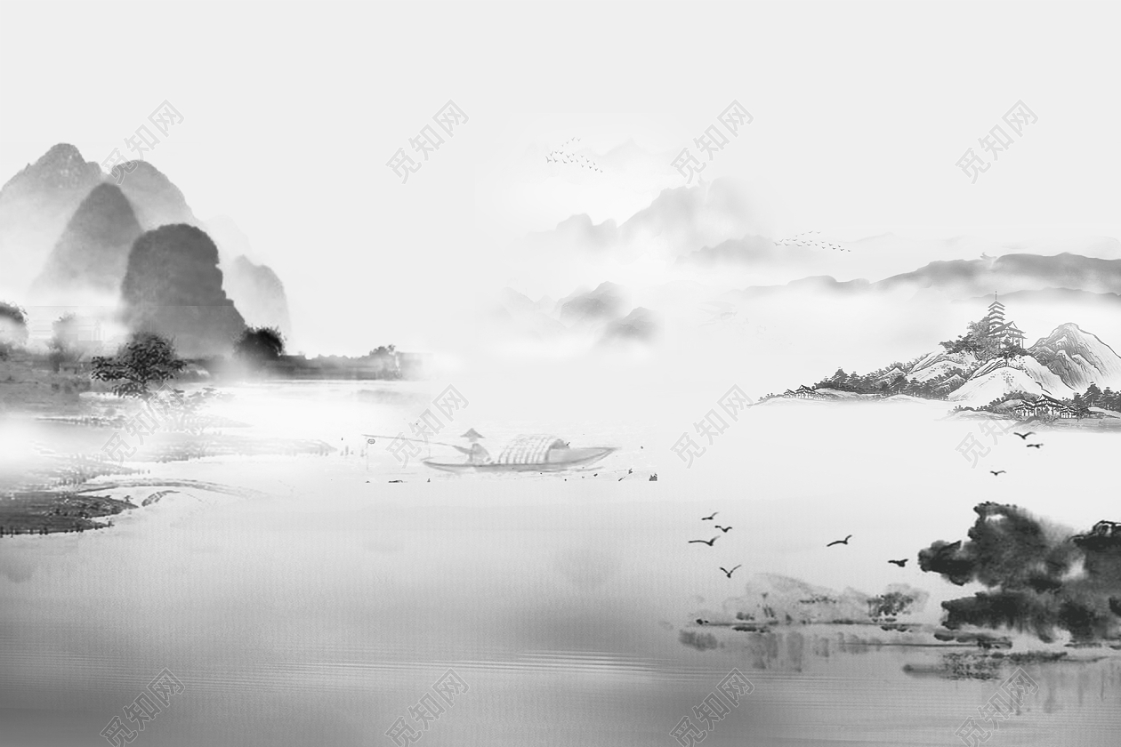 中国风黑白水墨山水背景画素材