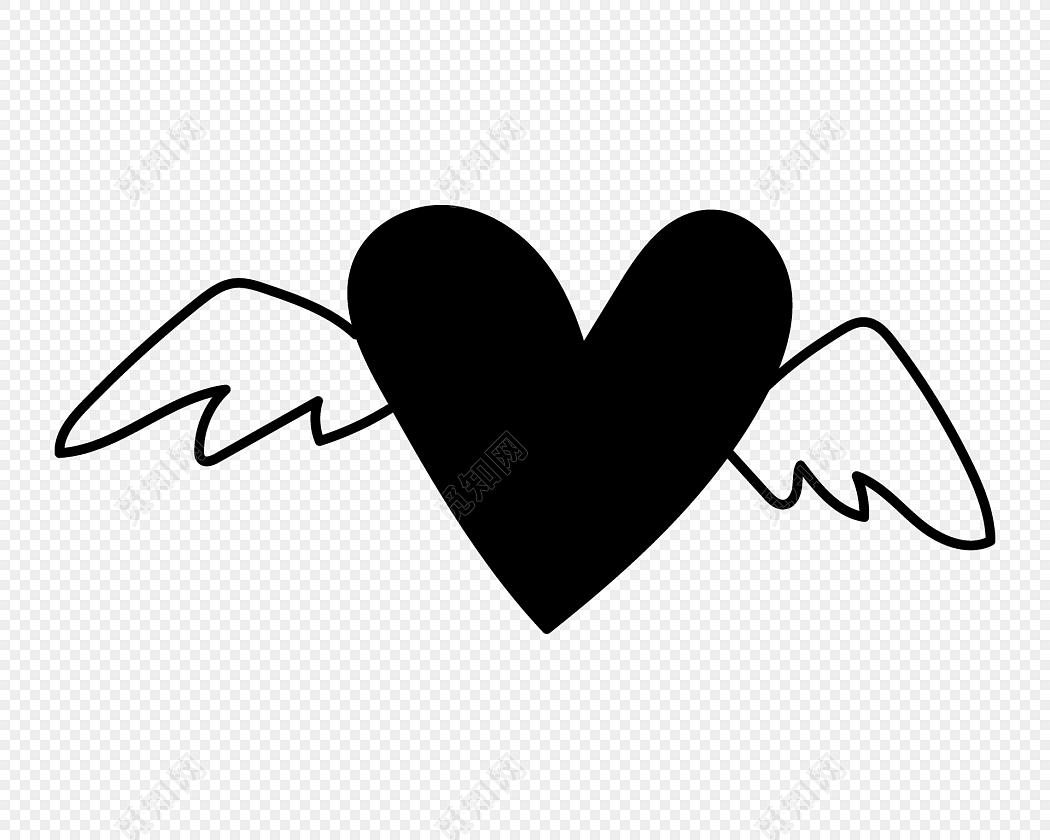 黑色爱心翅膀手绘素材