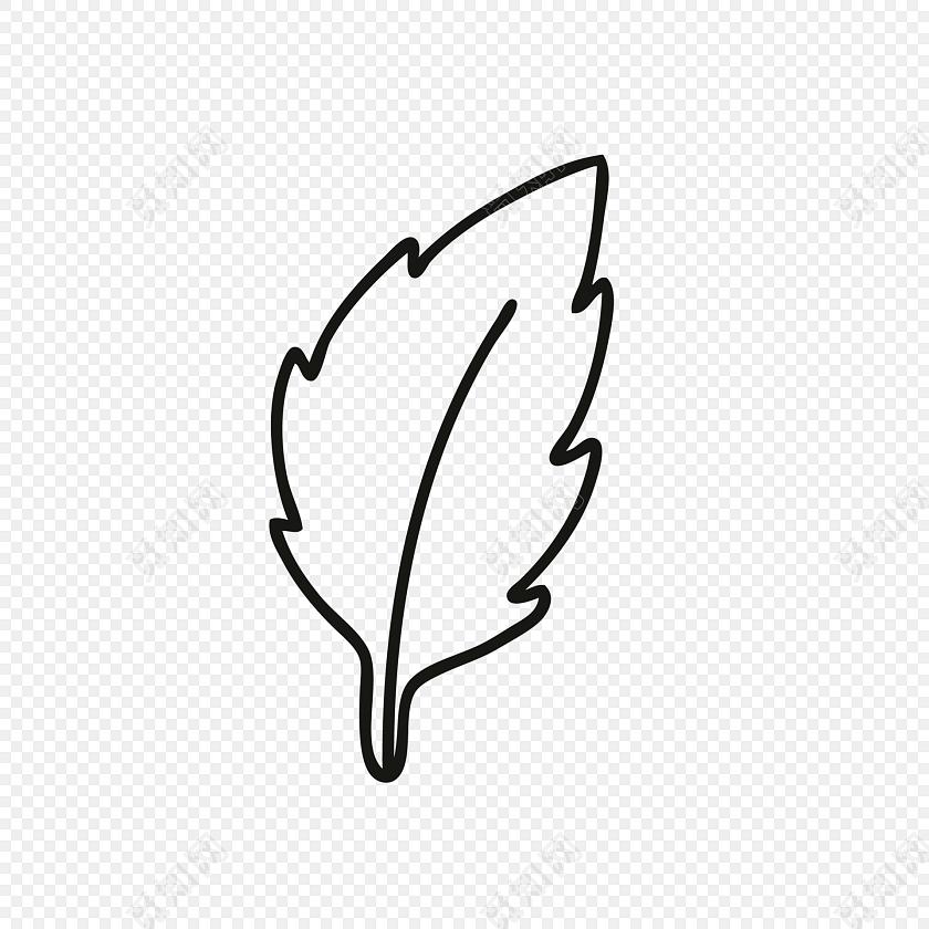 简约风简笔画素描树叶图片