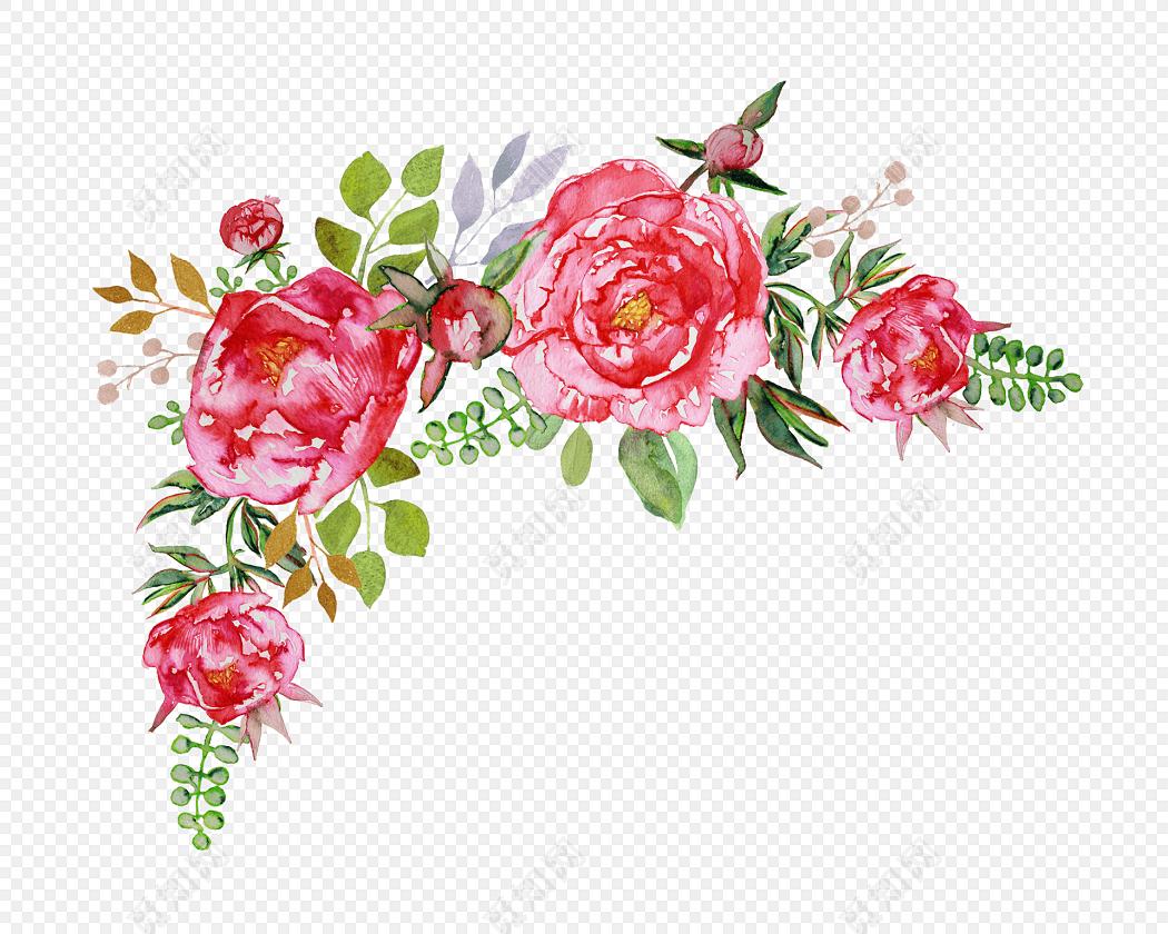 卡通手绘小清新红色花朵免抠素材