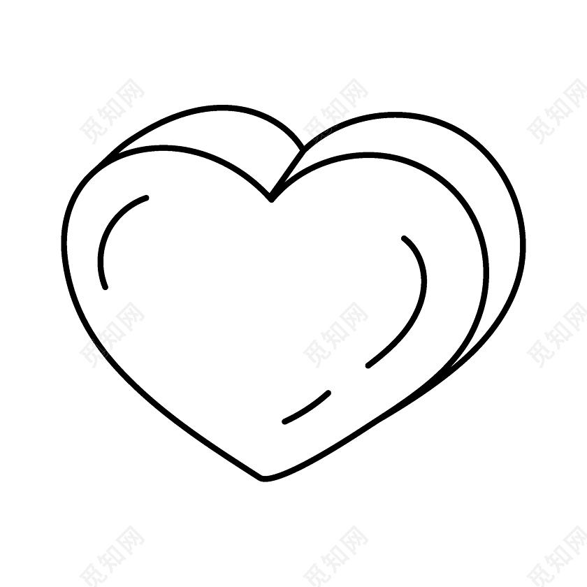 简约黑色爱心简笔画图片素材免费下载 觅知网