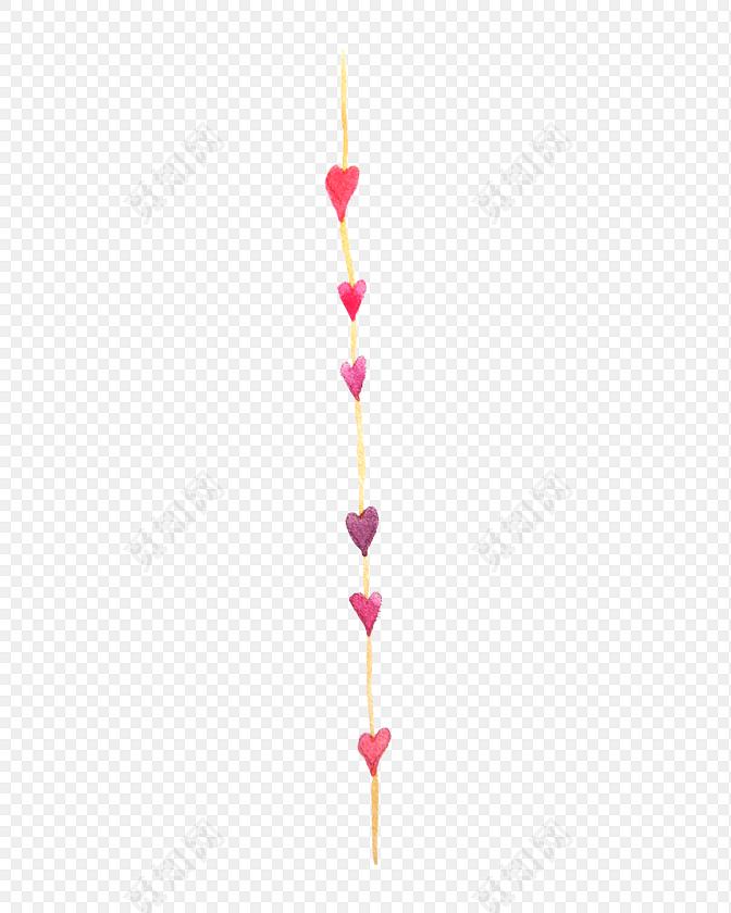 手绘可爱心形分割线素材下载