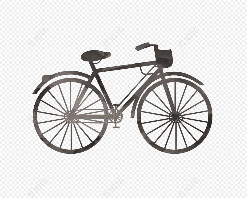 手绘黑色自行车矢量图