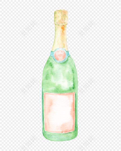 彩绘风酒瓶矢量图下载