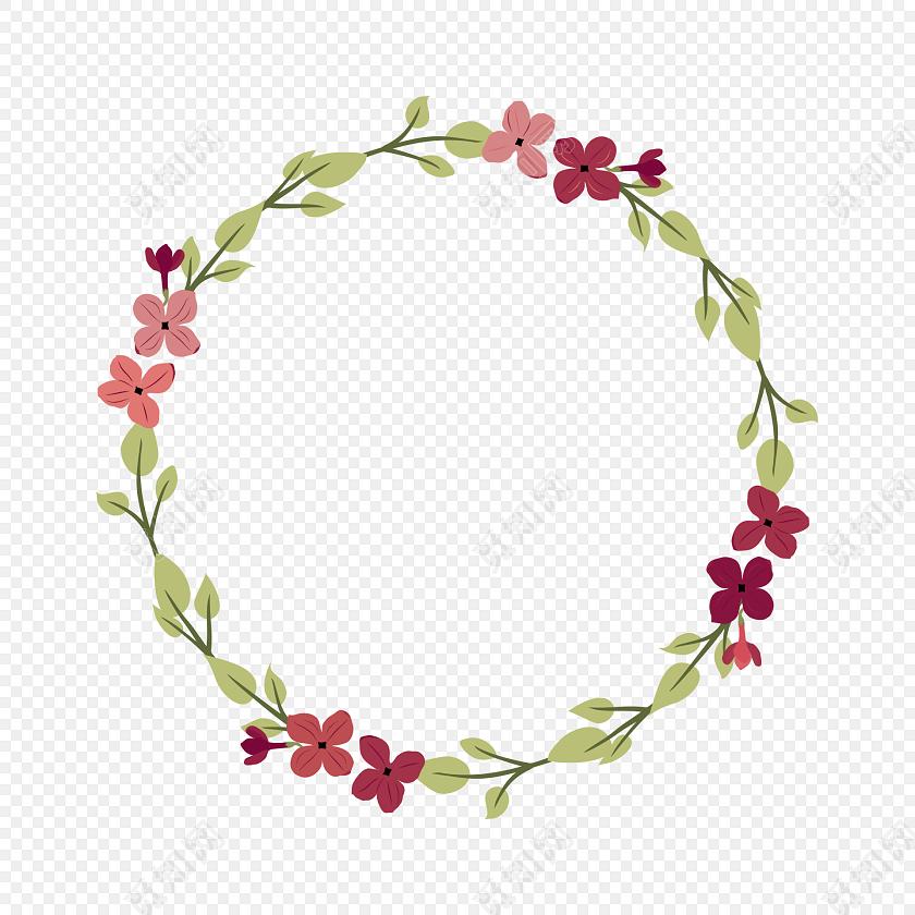 小清新唯美水彩红色鲜花花圈素材