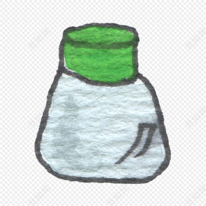 绿色手绘彩铅厨房用具调料瓶