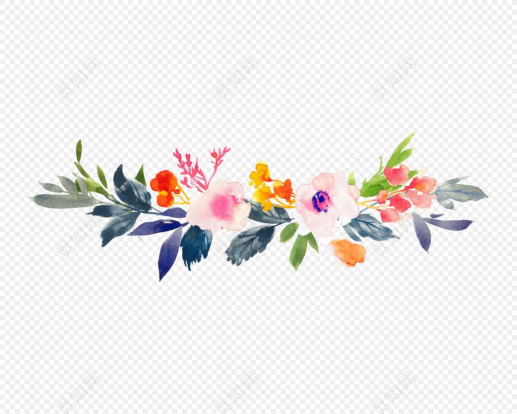 彩色水彩花朵花瓣叶子植物素材