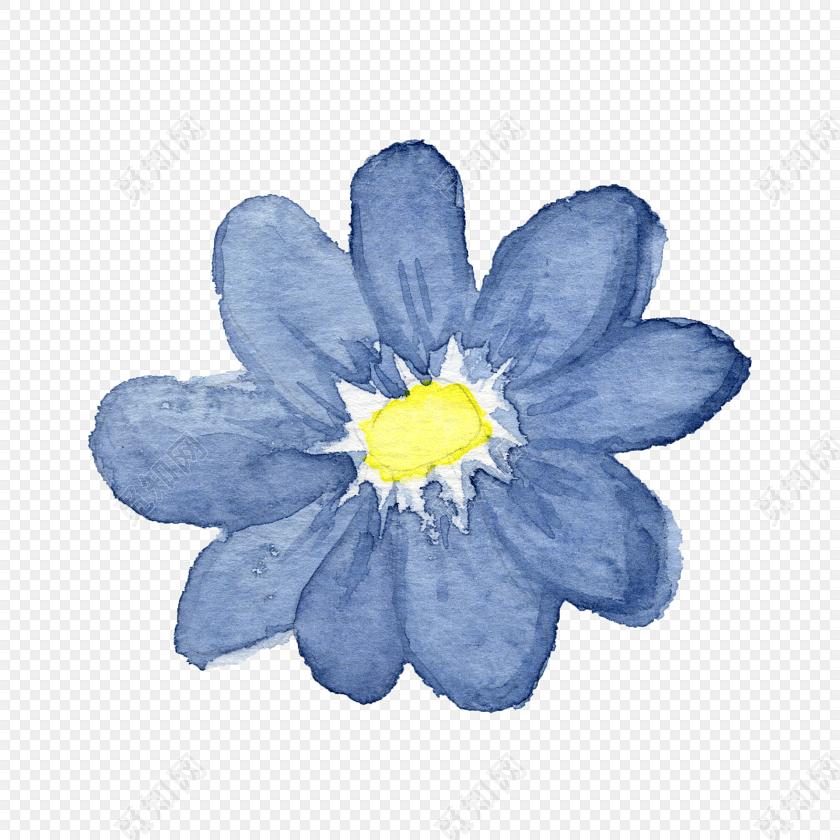 蓝色手绘花朵水彩插画