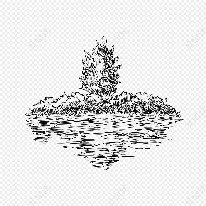 黑色树木河流手绘素材
