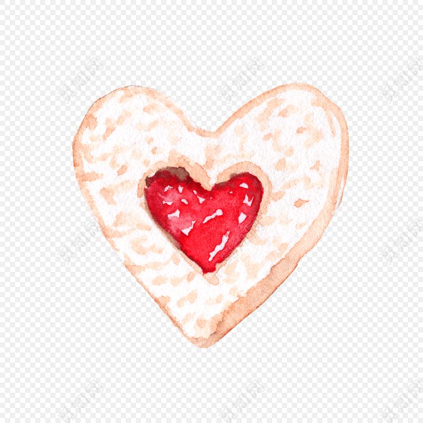 水彩红色心形矢量图