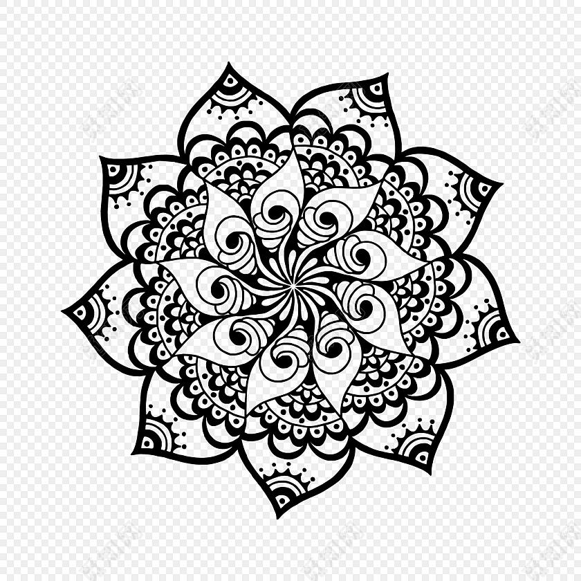 黑白欧式花纹图案图标