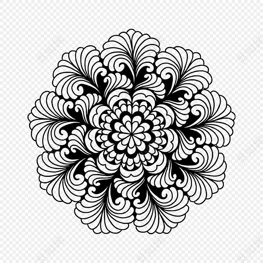 黑白欧式花纹图案图片素材免费下载_觅知网