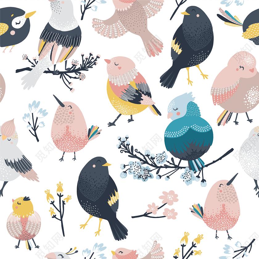 手绘彩色小鸟包装纸图案