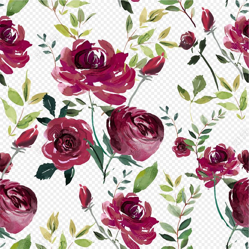手绘彩色花卉包装纸图案