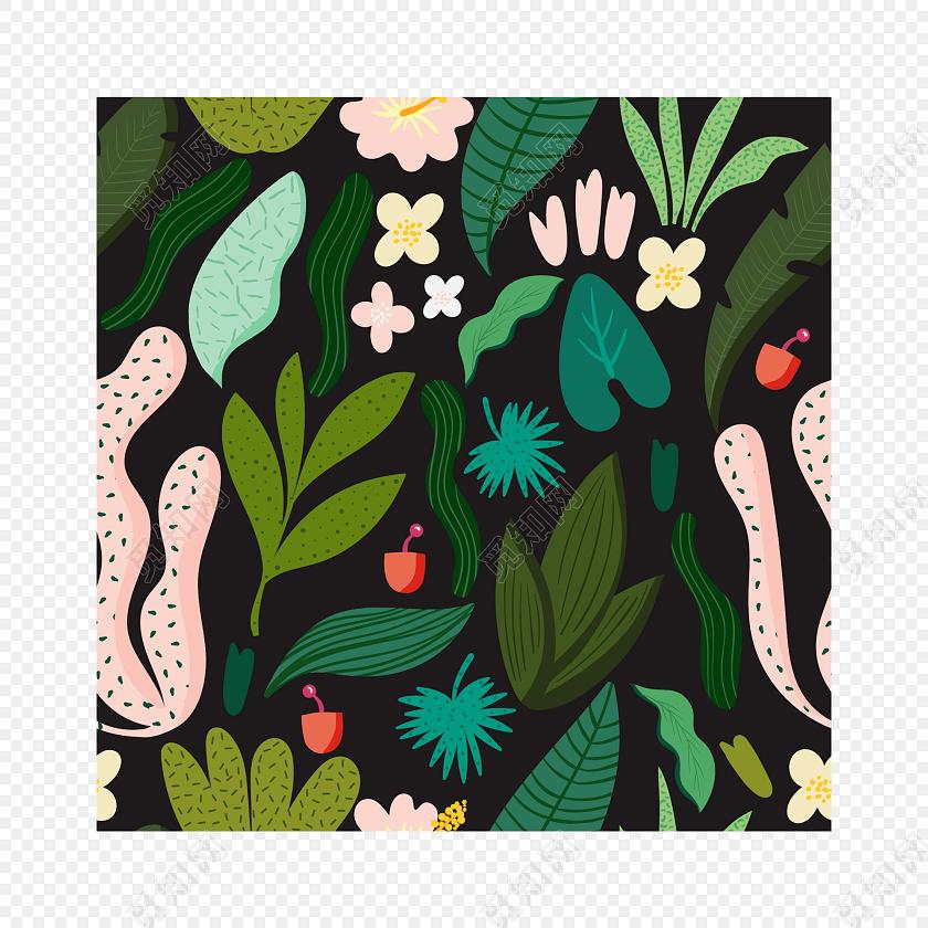 手绘彩色植物包装纸图案