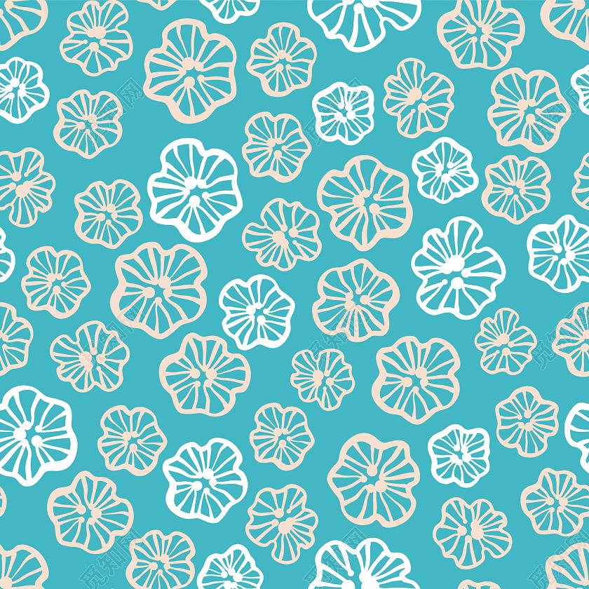 手绘彩色花朵包装纸图案