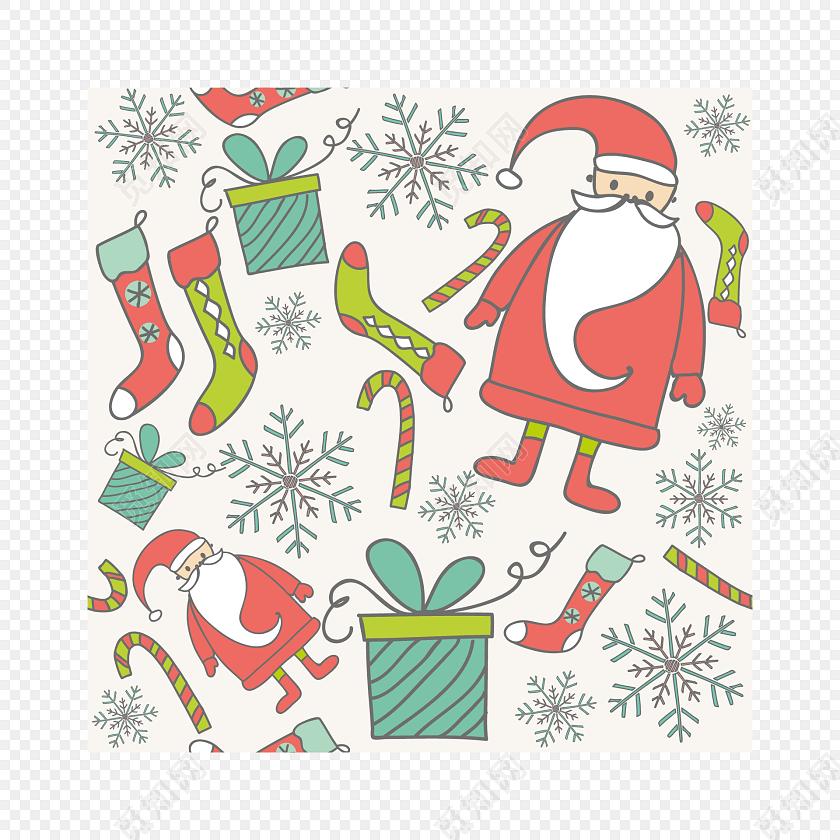 手绘彩色圣诞节包装纸图案
