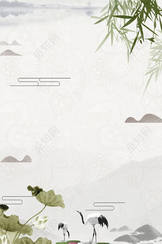 中国风古风水墨仙鹤荷花竹子海报背景