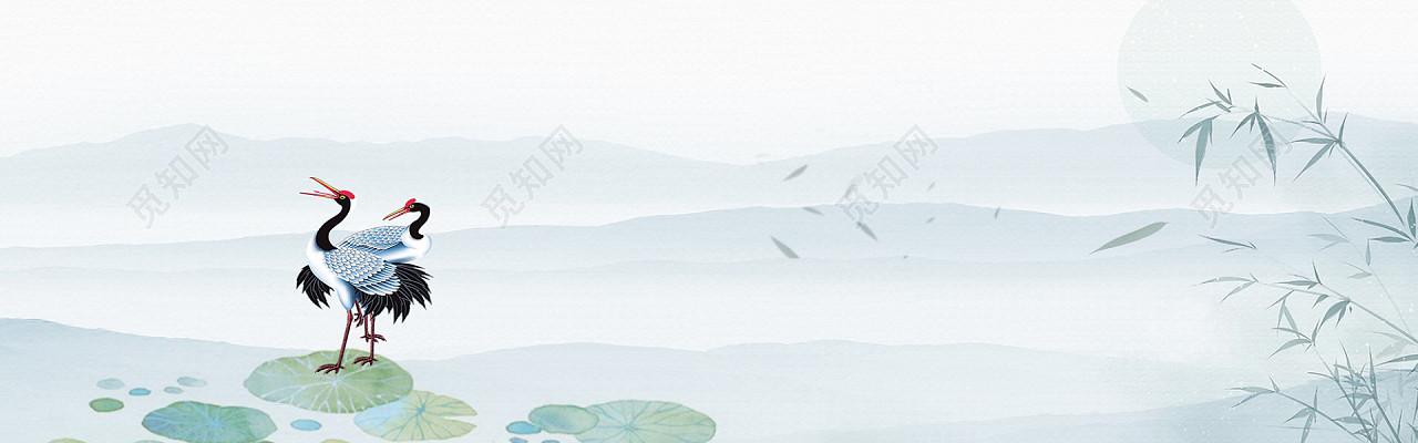 中国风水墨荷花仙鹤竹子荷花背景