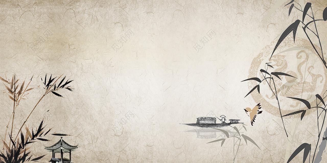 中国风古风水墨竹子背景素材