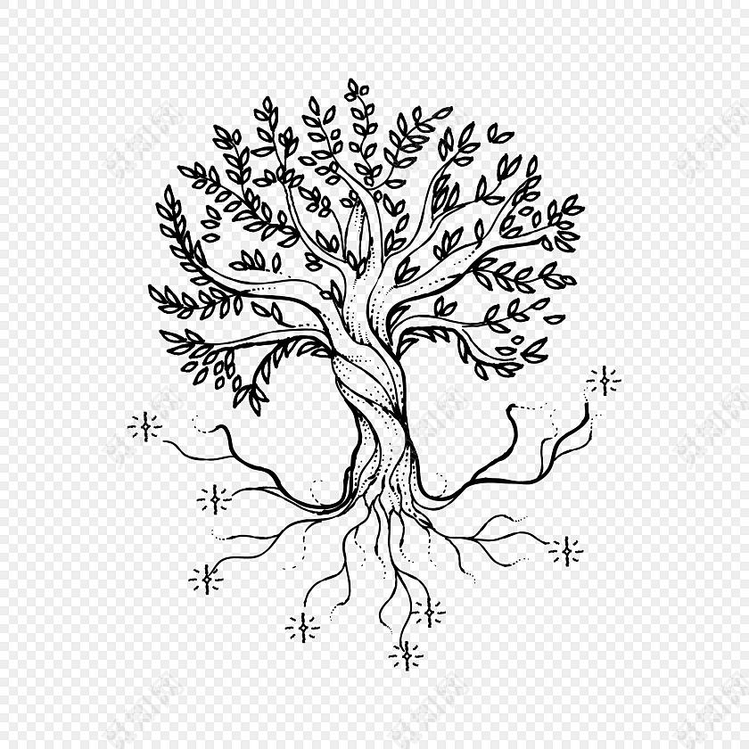 线条手绘树矢量素材