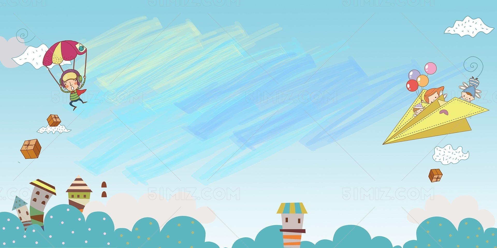 卡通儿童水彩手绘风开学季蓝色背景