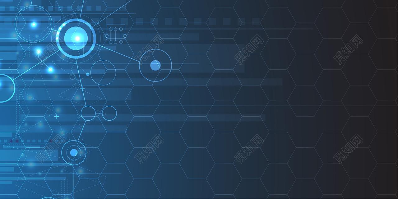 蓝色商务科技圆几何多边形科技背景免费下载_背景素材