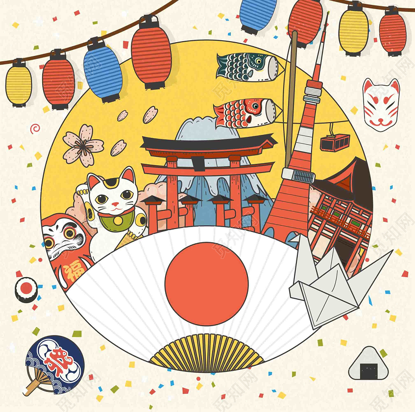 日本旅游地�_手绘矢量旅游日本景点樱花招财猫灯笼海报背