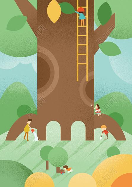 手繪插畫創意矢量植樹節海報背景