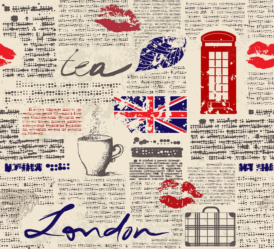 报纸风格英国元素无缝背景矢量图