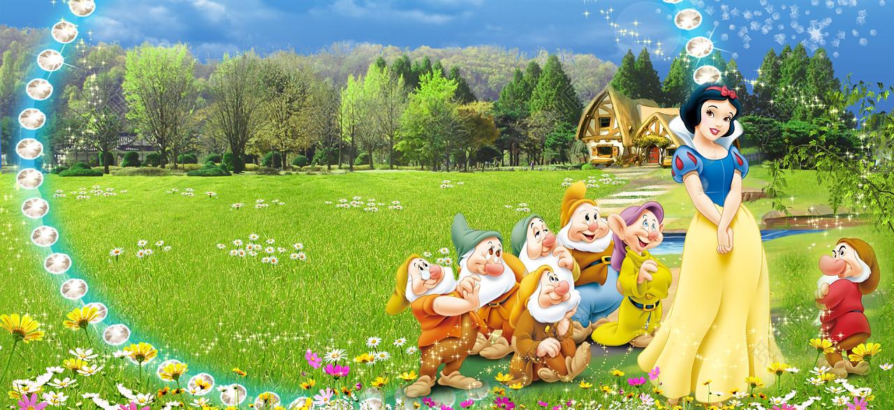 淘宝白雪公主小矮人儿童风景钻石海报背景