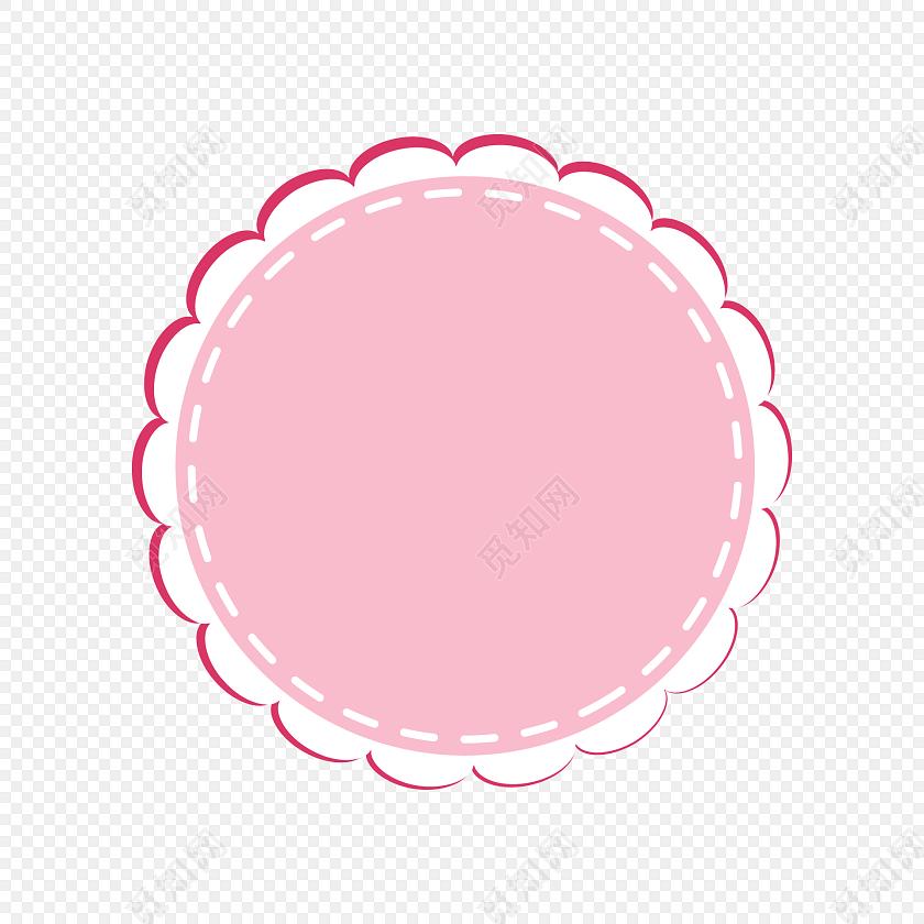 手绘卡通圆形花纹边框素材