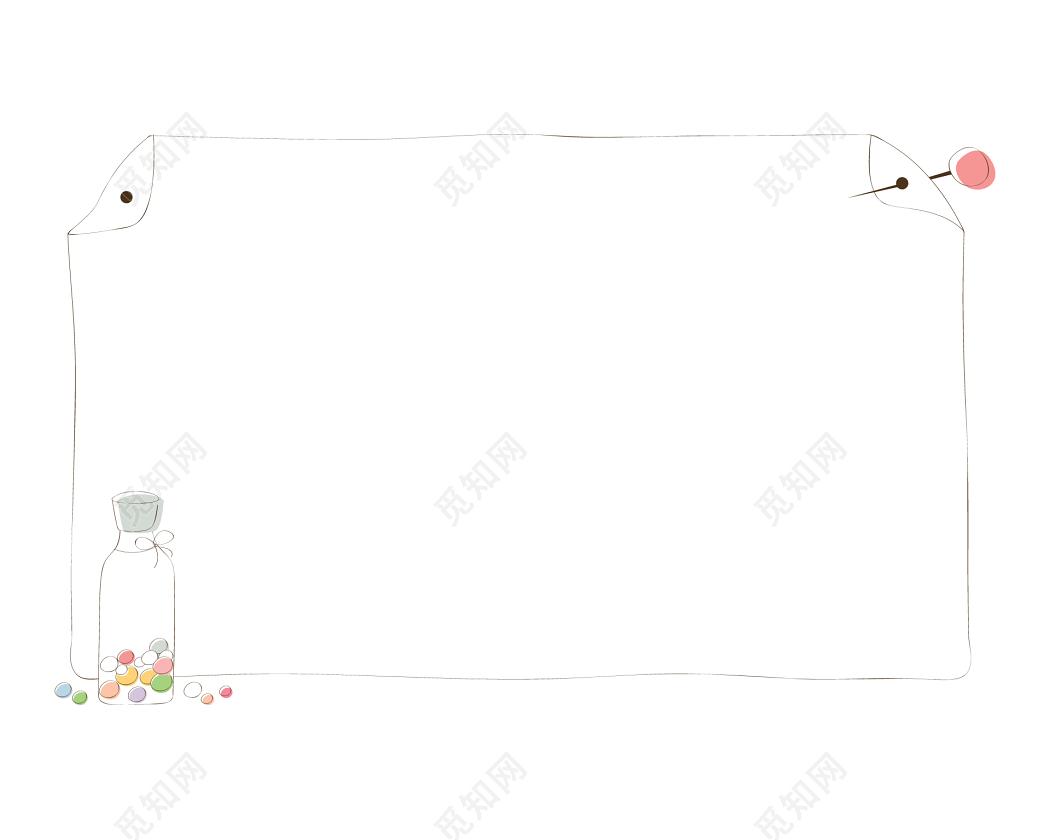 手绘卡通折纸花边边框素材