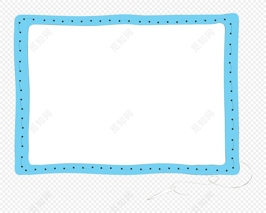 手绘卡通蓝色花边边框素材