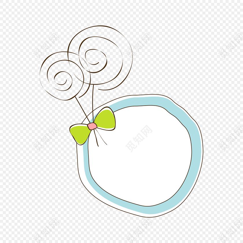 手绘卡通圆形花边边框素材
