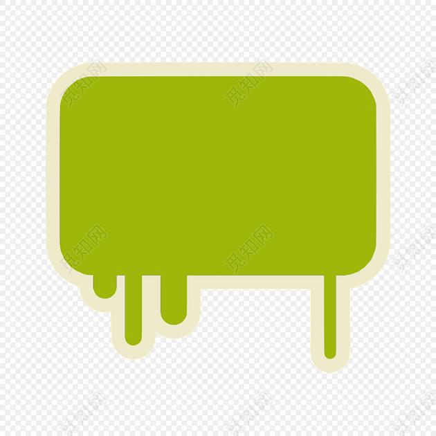 手绘卡通绿色花边边框素材