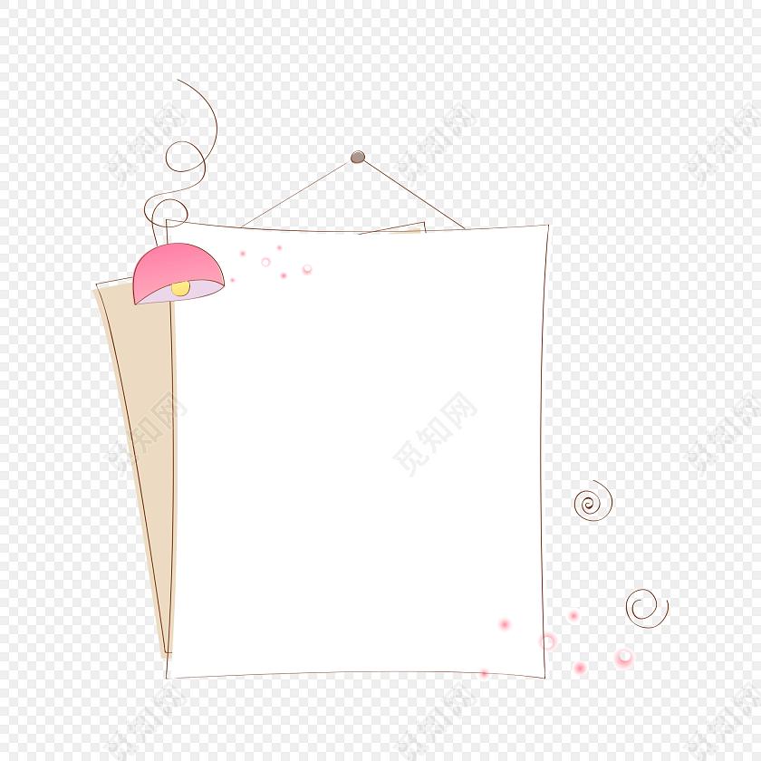 手绘卡通挂牌花边边框素材