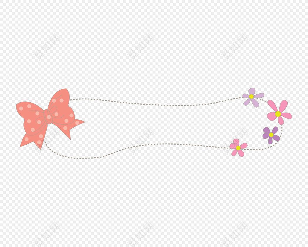 花朵蝴蝶结装饰虚线图框花边边框小报边框