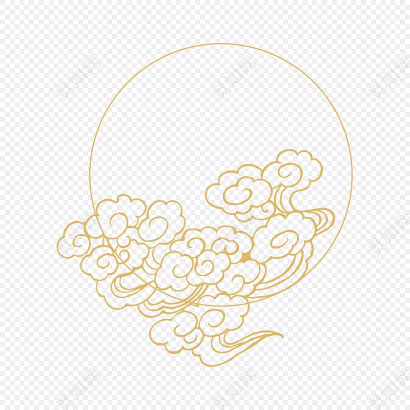 中国风祥云装饰花边边框中秋前素材