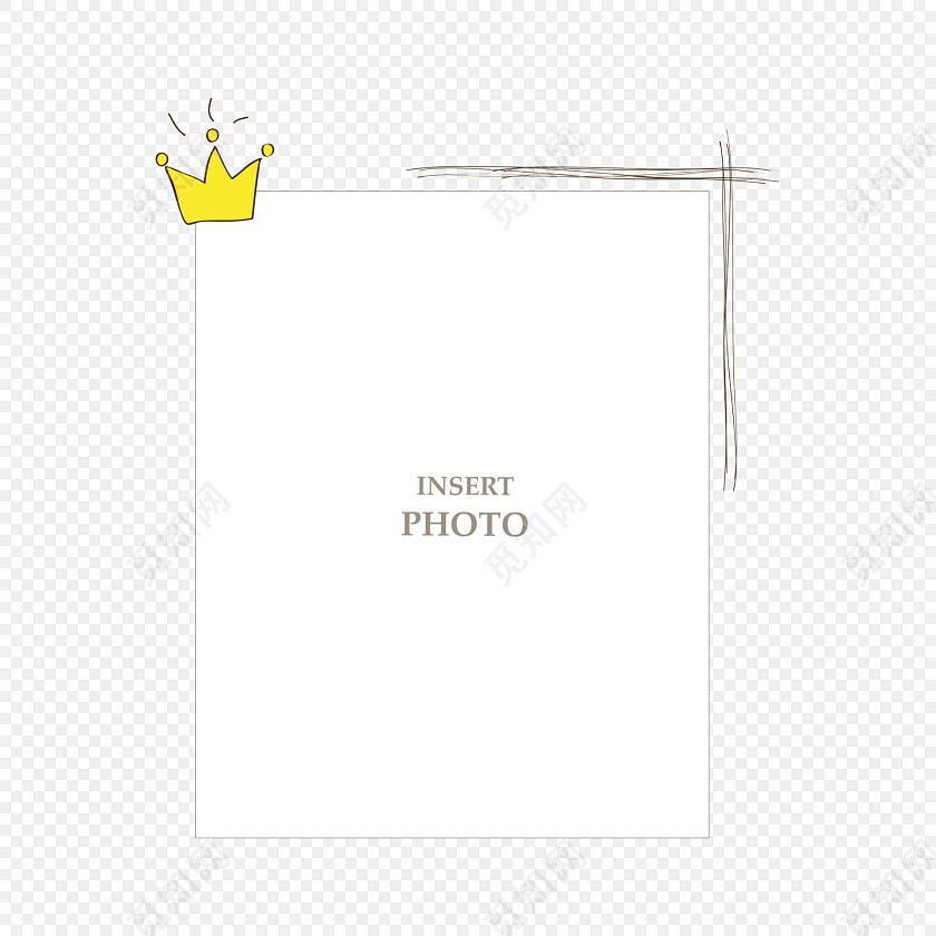 卡通皇冠花边边框素材