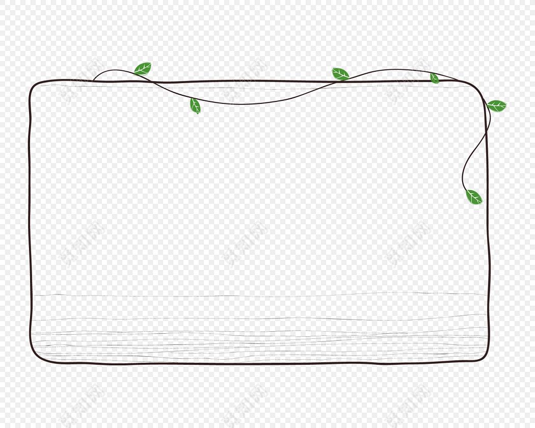 手绘卡通树枝花边边框素材