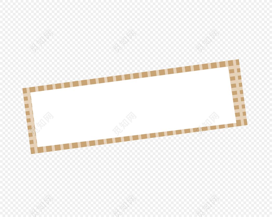 手绘卡通棕色花边边框素材