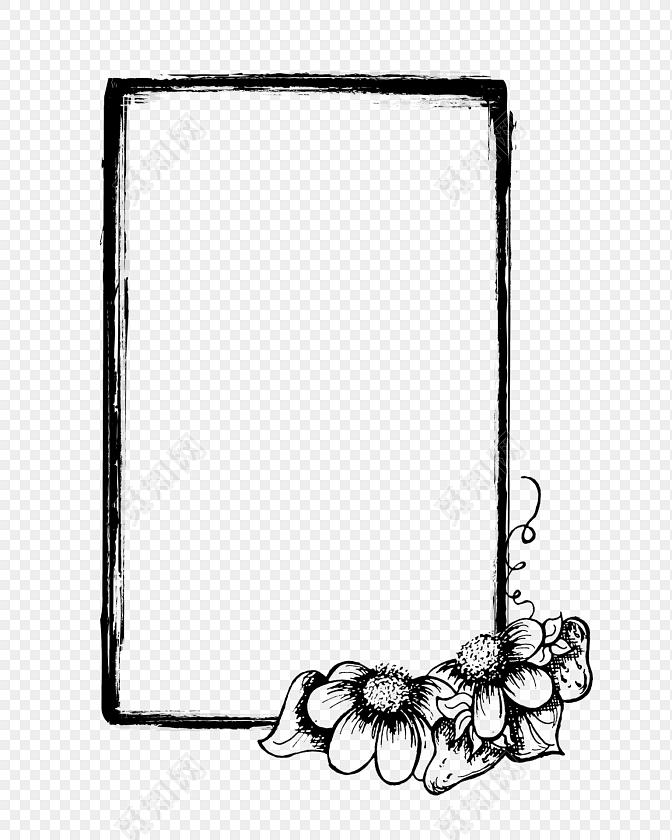 手绘卡通黑色花边边框素材