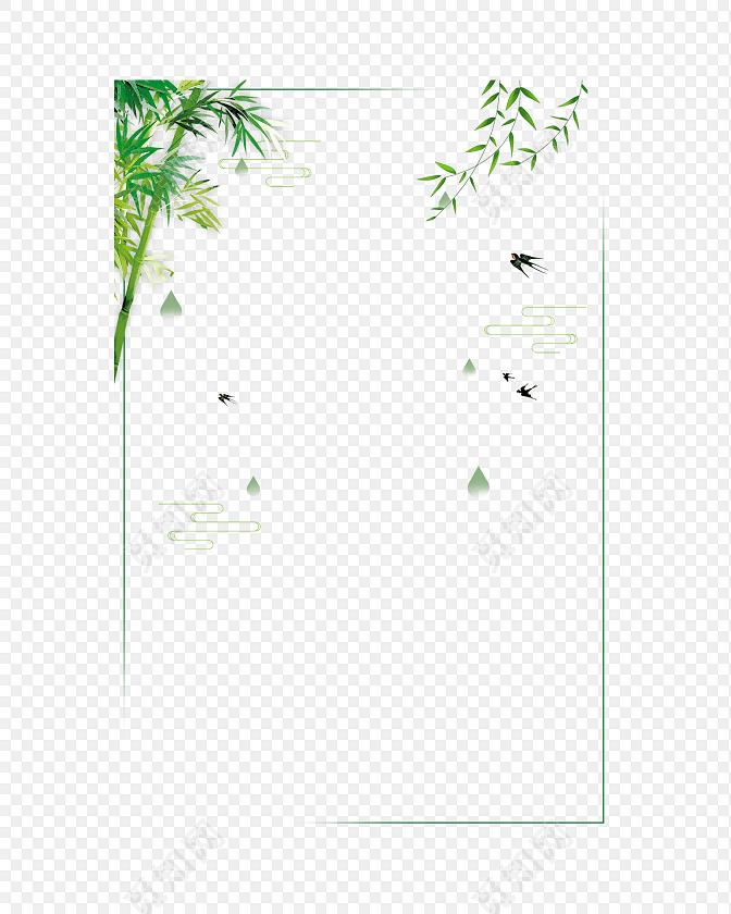 手绘卡通竹子花边边框素材
