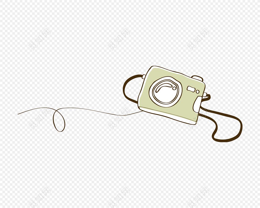 手绘卡通照相机花边边框素材