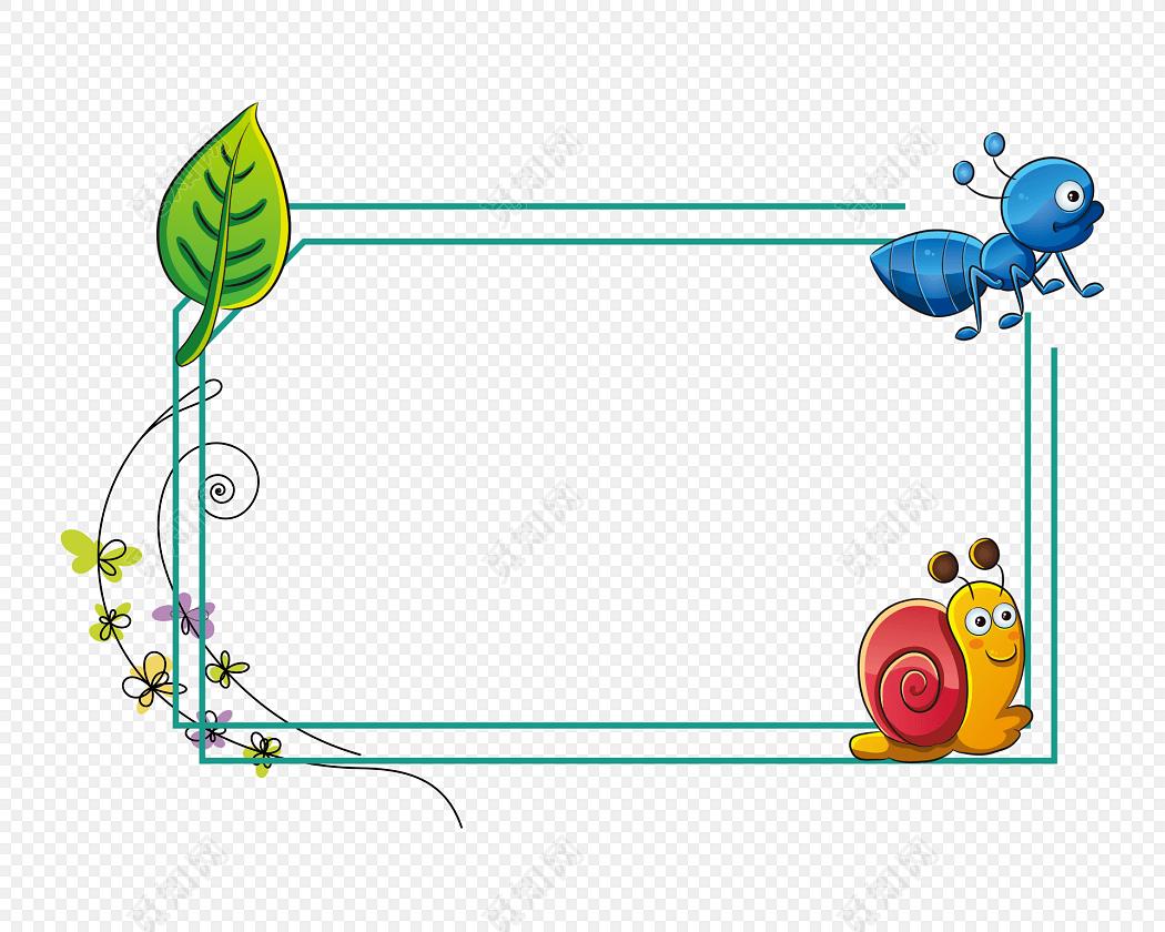 手绘卡通动物花边边框素材