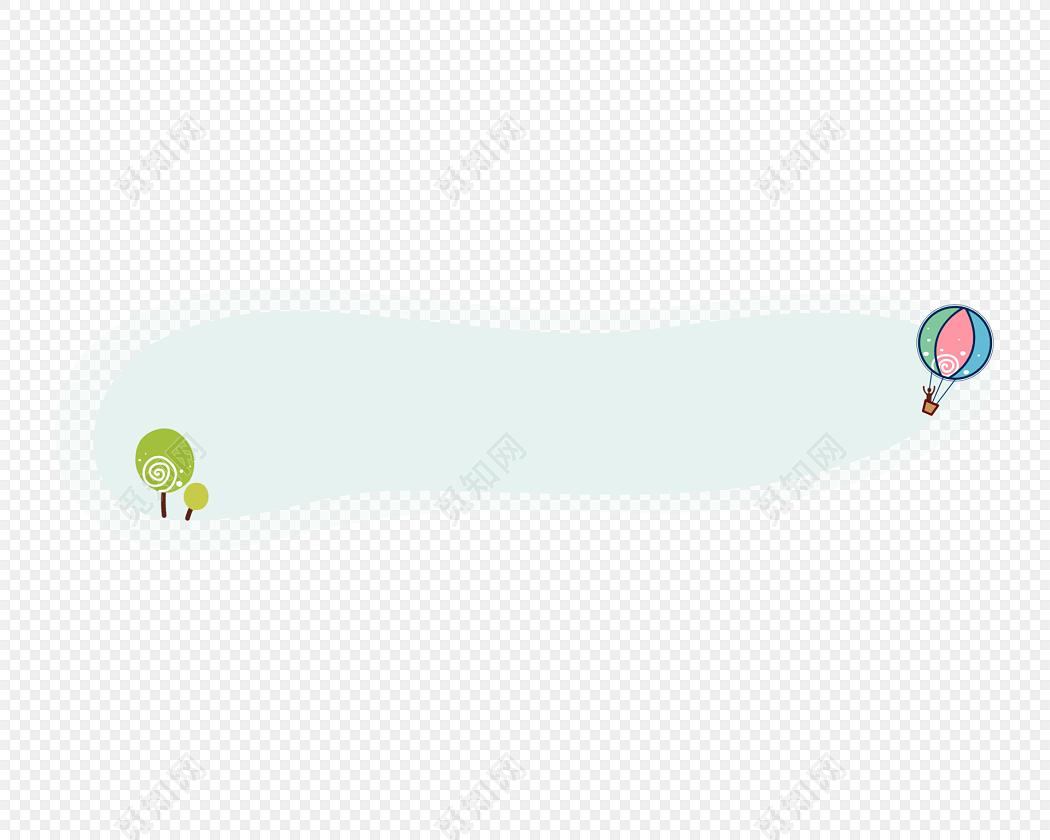 手绘卡通热气球花边边框素材